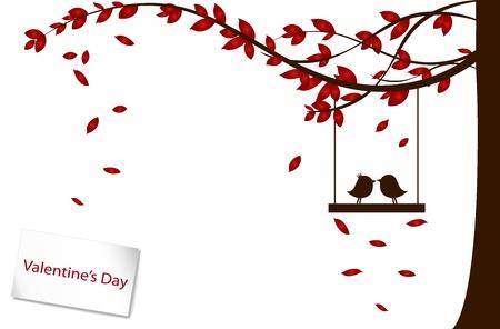 boom met vogels: Valentine achtergrond met boom en vogel.