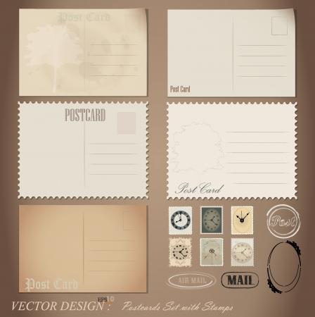 Vintage postkaart ontwerpen en postzegels. Vector Illustratie