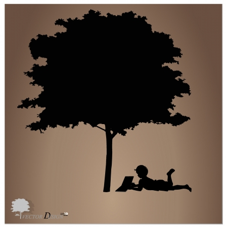 kids reading: Vector background with children read a book under tree.