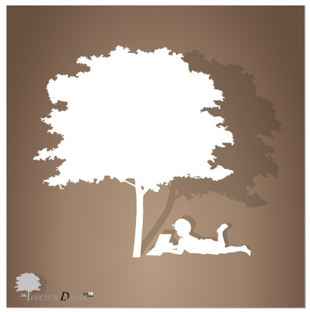 background with children read a book under tree. Vector