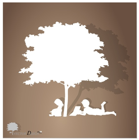 hand holding paper: background with children read a book under tree. Illustration