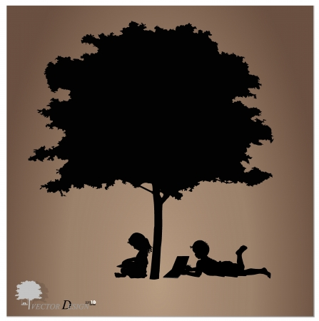 kids reading: Vector background with children read a book under tree. Vector Illustration.