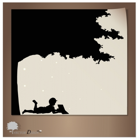 Background with children read a book under tree.  Stock Vector - 14178996