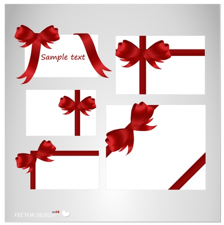 Set of blank white cards with ribbons. Stock Vector - 14178479
