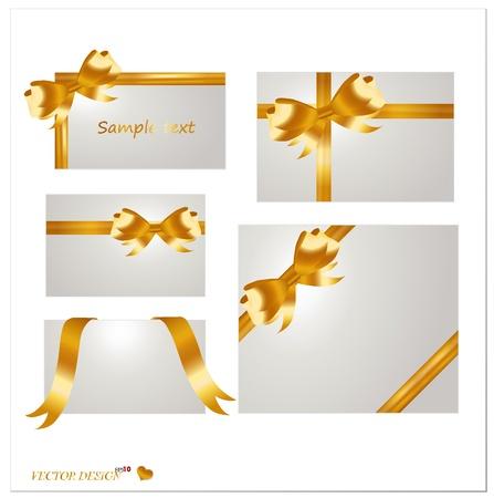 fiocco oro: Set di carte vuote bianche con nastri d'oro.