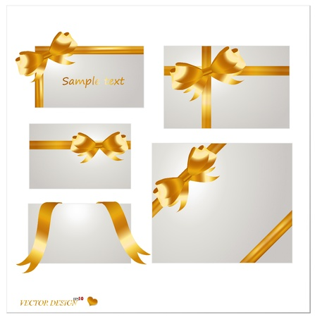 Set of blank white cards with gold ribbons. Vector