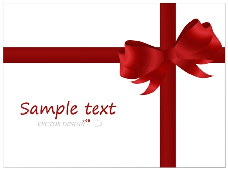 Shiny satin red bow and red ribbon on white card.  Vector
