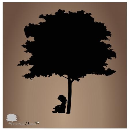 Vector achtergrond met kinderen een boek lezen onder boom Vector Illustratie