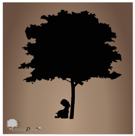 Vector background with children read a book under tree  Vector Illustration