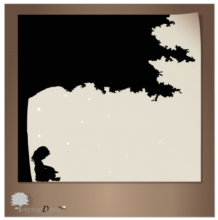 Vector background with children read a book under tree  Vector Illustration Stock Vector - 14273688