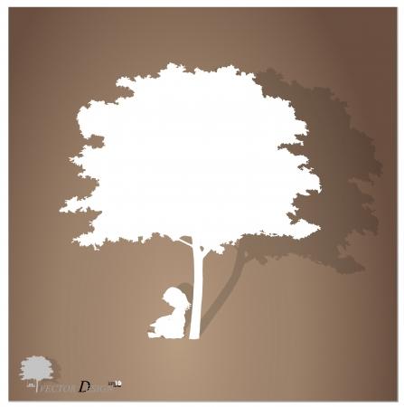 아이들과 함께 배경 나무 아래 책을 읽고.