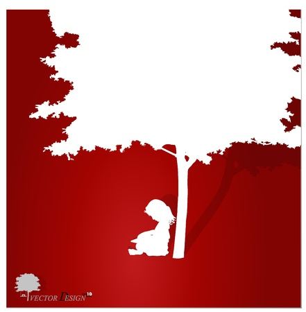 Vector background with children read a book under tree. Vector Illustration. Stock Vector - 14178384