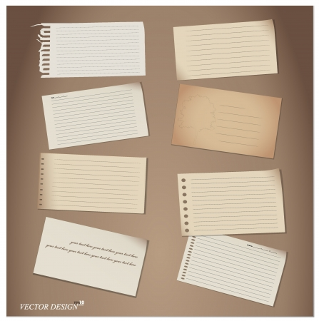 note book: Set of Paper notes  Vector Illustration