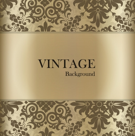 postcard template: Seamless retro pattern background with vintage label.