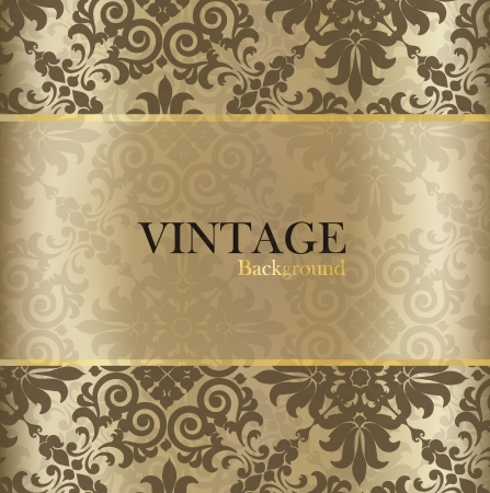 luxury paper: Seamless retro pattern background with vintage label