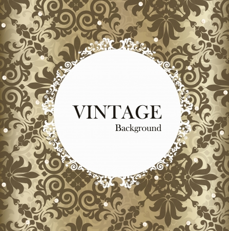 Seamless retro pattern background with vintage label. Vector