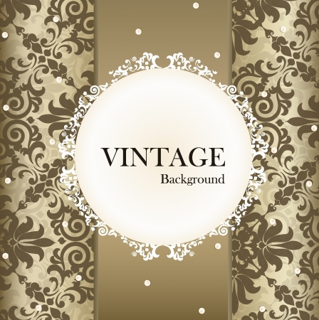 Seamless retro pattern background with vintage label.