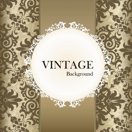 postal vintage: Seamless retro con la etiqueta de la vendimia.
