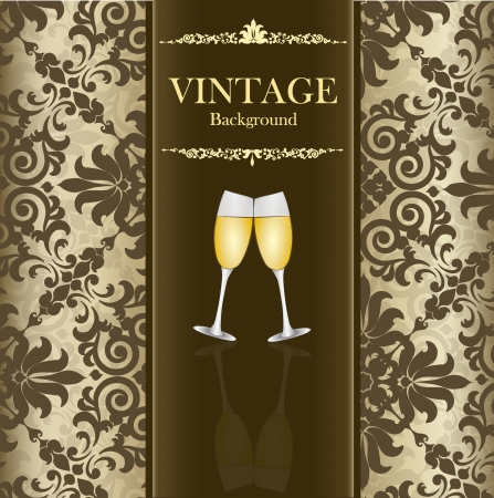 Seamless retro pattern background with vintage label and wine glass. Vector