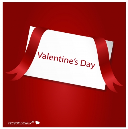 Valentines card with red ribbon on a red background Vector