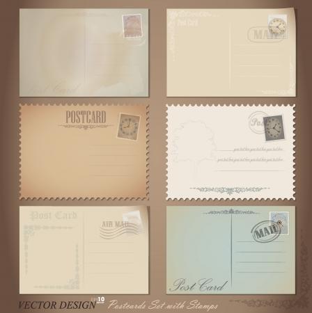 Designs de cartes postales et timbres-poste de cru.