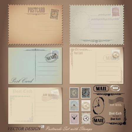 Diseños vintage de tarjetas postales y sellos. Ilustración de vector