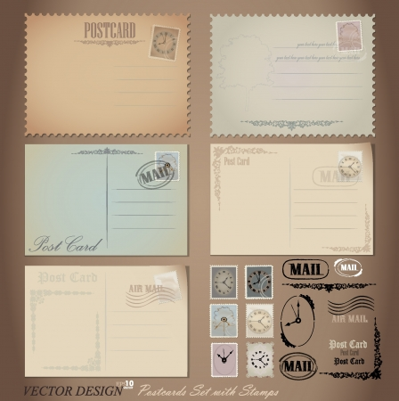 postcard background: Vintage postcard designs and postage stamps.