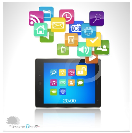 dial pad: Touchscreen modern tablet pc with cloud of colorful application.  Illustration