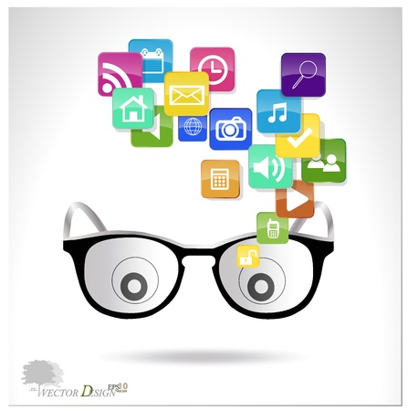 Glasses with cloud of colorful application.  Stock Vector - 14238202