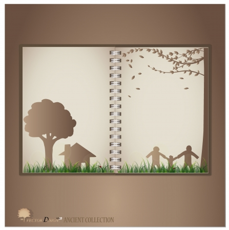house fly: Vintage notebook designs (Tree, house and family).