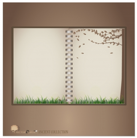 Vintage notebook designs (Lady bug and Fresh spring green grass background).  Vector