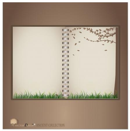 lady bug: Weinlese-Notebook-Designs (Lady Bug und frisch Fr�hling gr�ne Gras Hintergrund).