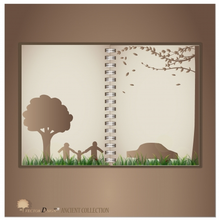 Vintage notebook designs (Tree, house and family). Vector illustration. Vector