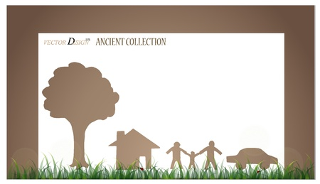 Vintage notebook designs (Tree, house and family).  Vector