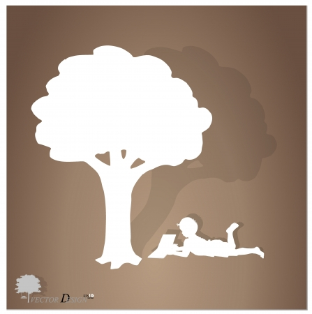 Background with children read a book under tree. Stock Vector - 14238139