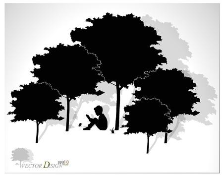 sotto l albero: Priorit� bassa di vettore con i bambini a leggere un libro sotto l'albero.