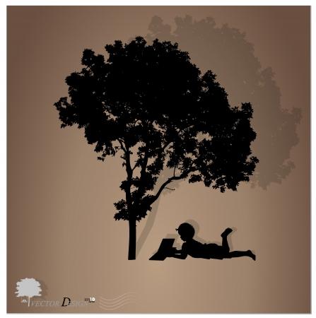 Arrière-plan avec les enfants lisent un livre sous un arbre.