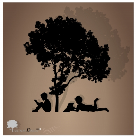 hands holding tree: Background with children read a book under tree.