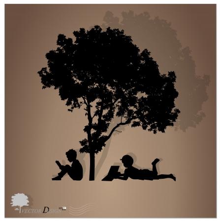 T?o z dzie?mi czyta? ksi??ki pod drzewem. Ilustracja
