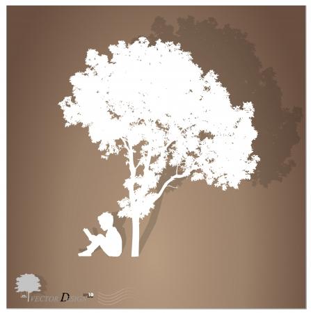 niños leyendo: Fondo con los niños a leer un libro bajo un árbol.