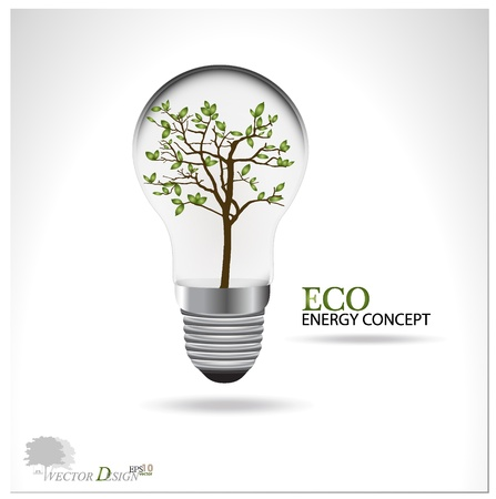 edison: Eco concept: A light bulb with tree inside.  Illustration