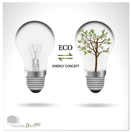 Eco concept: A light bulb with tree inside.