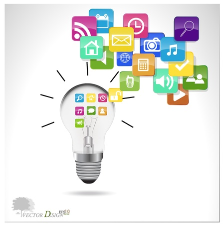 Bulb with cloud of colorful application. Vector