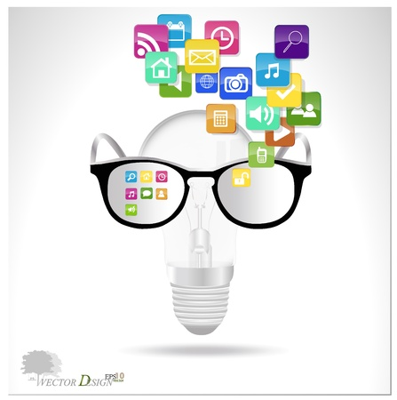 mobile app: Bulb with cloud of colorful application.  Illustration