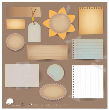Archiwalne pocztówki, a puste konstrukcje papierowe. (Odmiana z odpadków dla układów lub projektów scrapbooking) Ilustracja