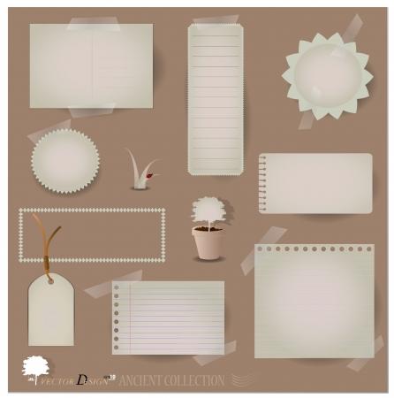 Postales antiguas, y los diseños de papel en blanco. (Variedad de sobras para sus diseños o proyectos de álbum de recortes)