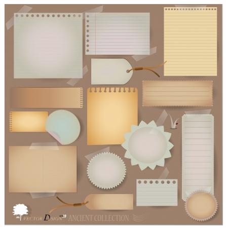 スクラップブッキング: ヴィンテージはがきと空白の紙のデザイン。(レイアウトやスクラップ ブック プロジェクト スクラップさまざまな)  イラスト・ベクター素材
