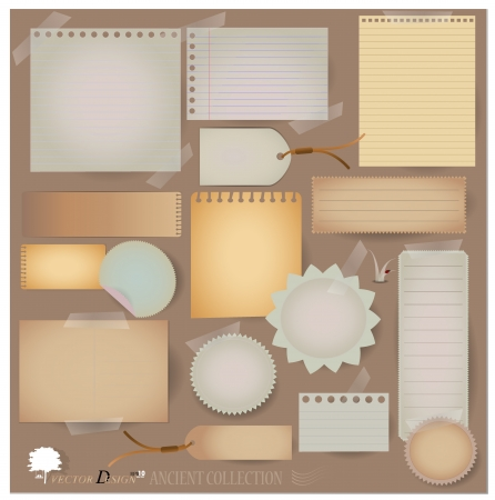 Vintage postcard, and blank paper designs. (variety of scraps for your layouts or scrapbooking projects) Vector