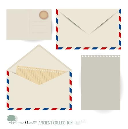 Sobre y diseños de tarjetas postales.