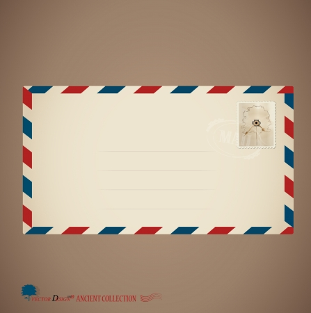 Envelope and stamp.  Vector